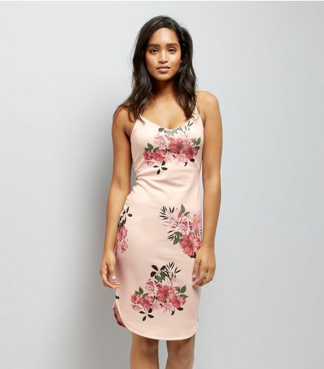 Pink Floral Print Bodycon Dress | New Look