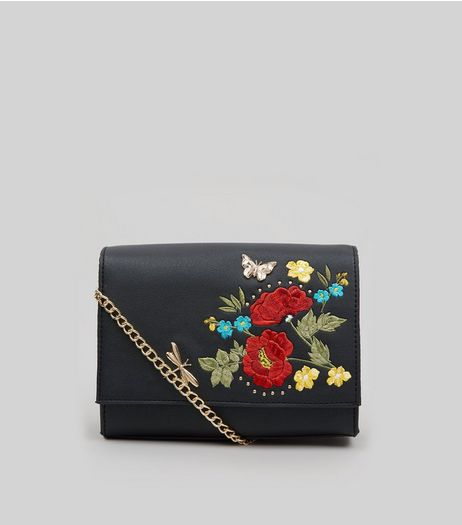 Black Floral Embroidered Cross Body Bag | New Look