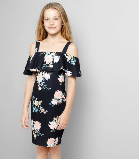 Teens Black Floral Print Cold Shoulder Dress  | New Look