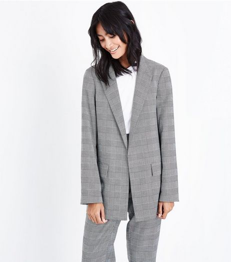 Grey Check Contrast Cuff Girlfriend Blazer | New Look