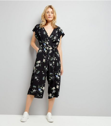 Black Floral Print Wrap Front Culotte Jumpsuit | New Look