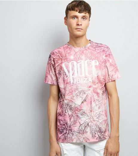 Pink Ibiza Palm Tree Print T-Shirt | New Look
