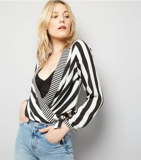 Black Stripe Print Wrap Front Top | New Look