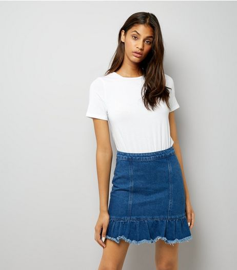 Blue Denim Peplum Hem Skirt  | New Look
