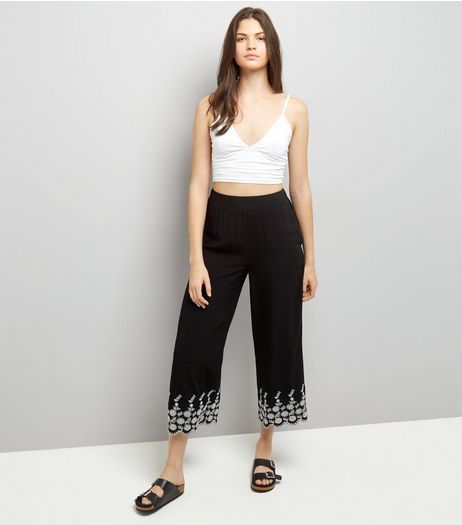 Black Floral Embroidered Hem Cropped Trousers | New Look
