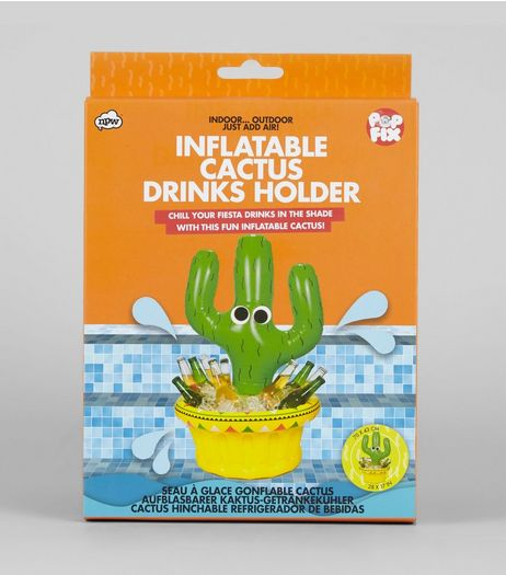 Green Inflatable Cactus Drinks Holder | New Look