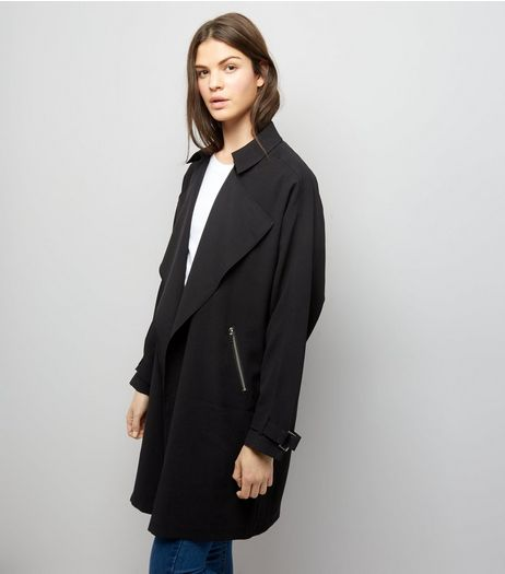 Black Wrap Front Coat  | New Look