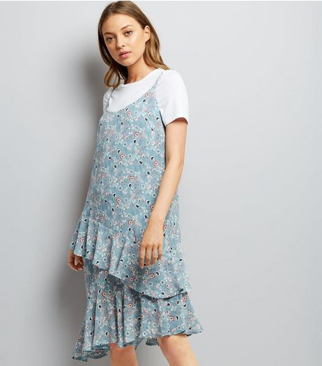 Blue Floral Print Frill Trim Hem Slip Dress | New Look