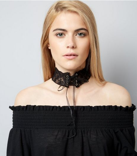 Black Sheer Lace Up Wide Choker | New Look