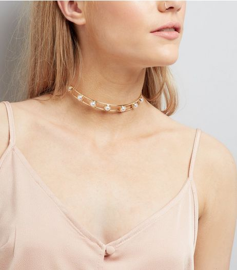 Gold Pearl Embellished Torque Necklace  | New Look