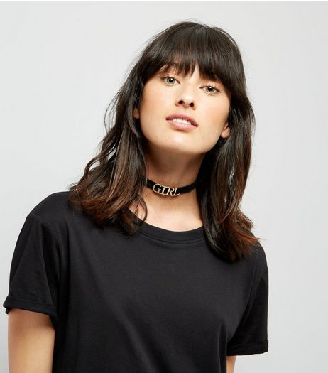 Black and Gold 'Girl' Letter Choker | New Look