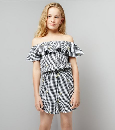 Teens Black Floral Embroidered Gingham Playsuit  | New Look