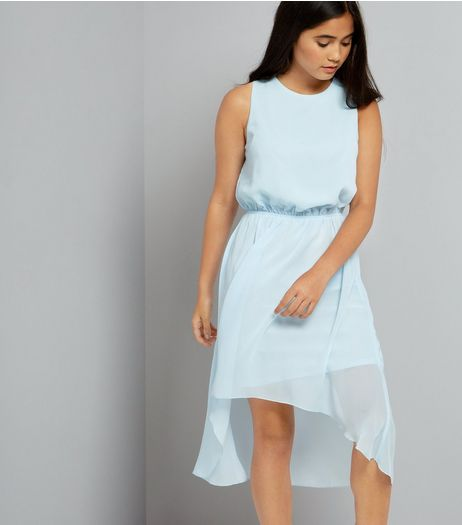 Teens Pale Blue Dip Hem Chiffon Dress  | New Look