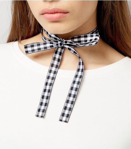 Black Gingham Bow Choker | New Look