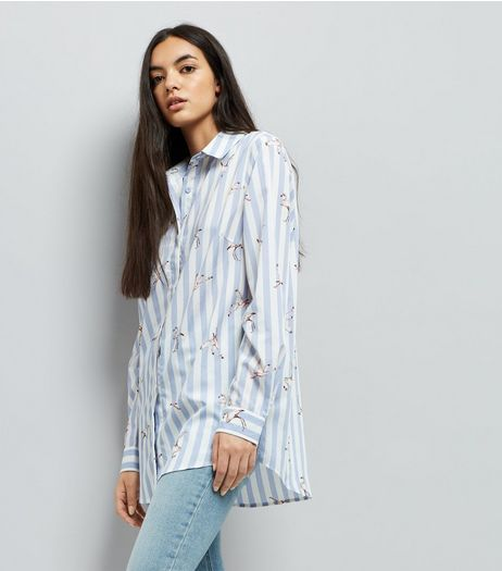 Tall Blue Stripe Flamingo Print Shirt | New Look