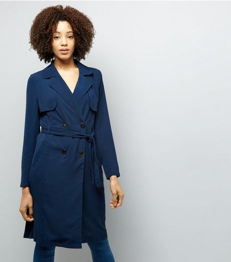 Mela Navy Trench Coat  | New Look