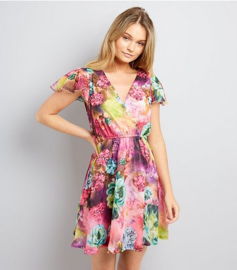 Mela Multicoloured Floral Print Wrap Front Dress  | New Look