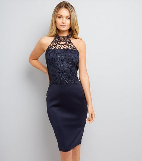 AX Paris Navy Crochet Lace Trim Midi Dress | New Look