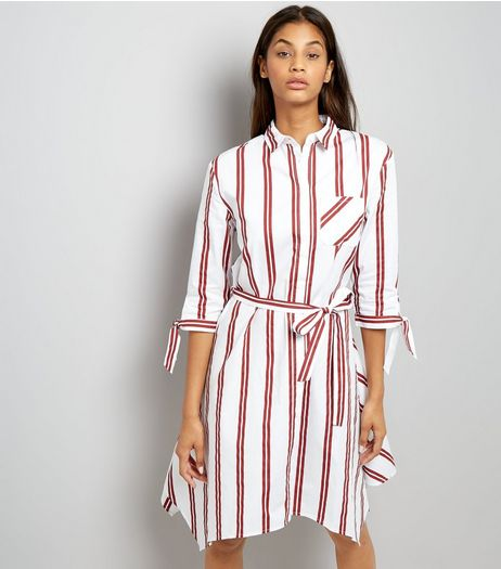White Stripe Hanky Hem Shirt Dress | New Look