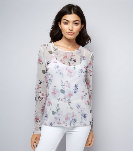 White Floral Print Mesh Long Sleeve Top | New Look