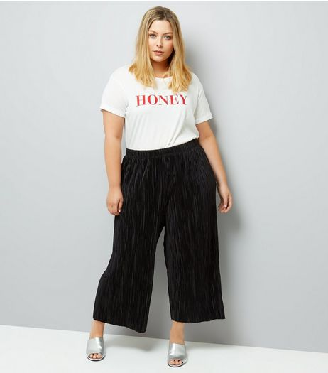 Curves Black Pleated Culottes | New Look