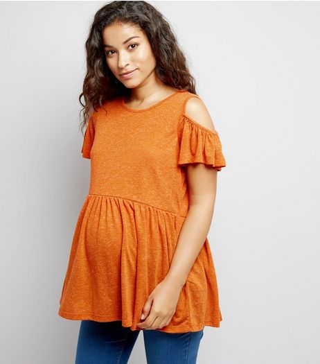 Maternity Orange Cold Shoulder Peplum Top | New Look
