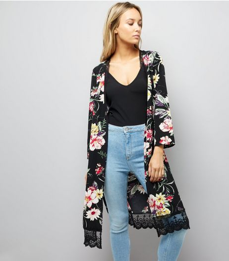 Cameo Rose Black Floral Print Lace Trim Kimono | New Look