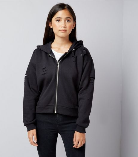 Teens Black Ripped Trim Hoodie  | New Look