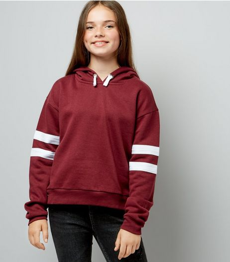Teens Burgundy Stripe Sleeve Hoodie | New Look