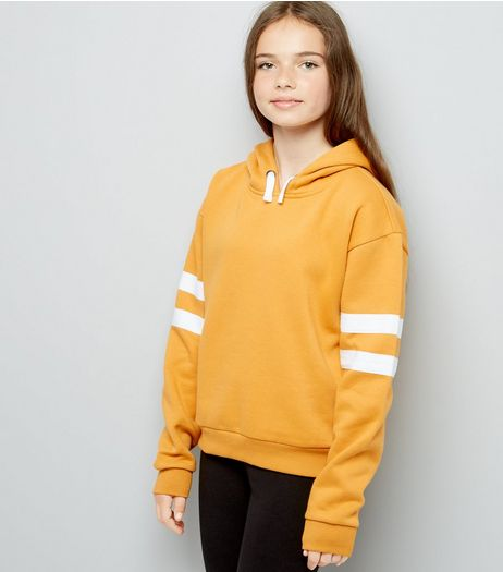 Teens Yellow Stripe Sleeve Hoodie | New Look