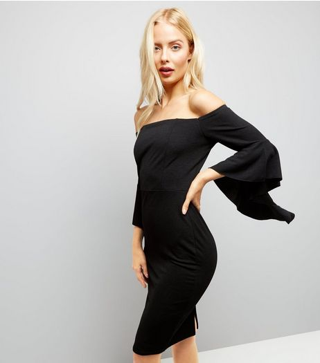 Cameo Rose Black Frill Sleeve Bardot Neck Dress | New Look