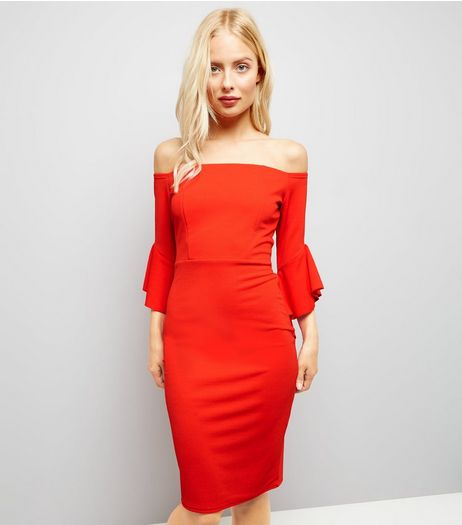 Cameo Rose Red Frill Trim Bardot Neck Dress | New Look