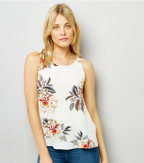 Cameo Rose White Floral Print Vest | New Look