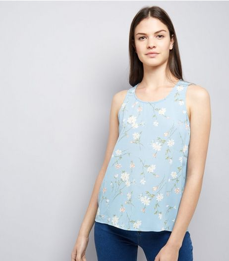 Cameo Rose Blue Floral Print Vest  | New Look