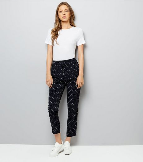 Navy Spot Print Drawstring Trousers | New Look