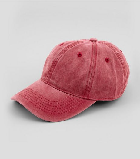 Red Washed Denim Cap | New Look