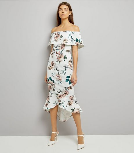 Pink Vanilla Cream Floral Print Bardot Neck Dress | New Look