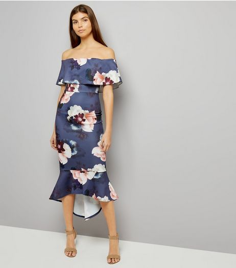 Pink Vanilla Navy Floral Print Bardot Neck Dress | New Look