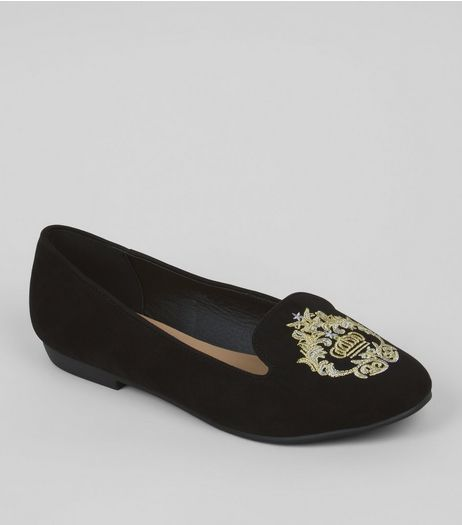 Wide Fit Black Regal Embroidery Ballet Pumps | New Look