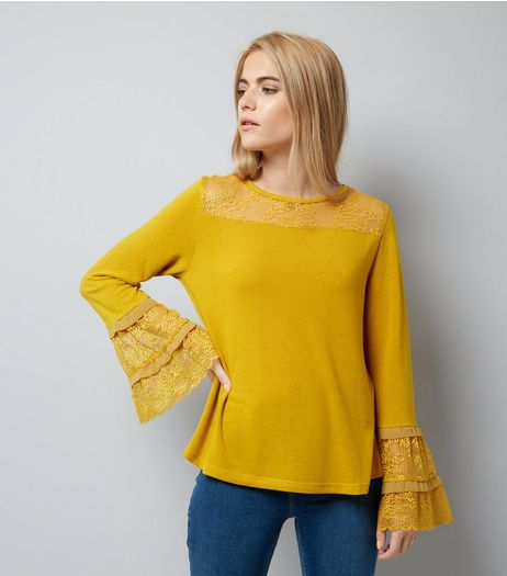 Blue Vanilla Yellow Lace Frill Sleeve Top | New Look