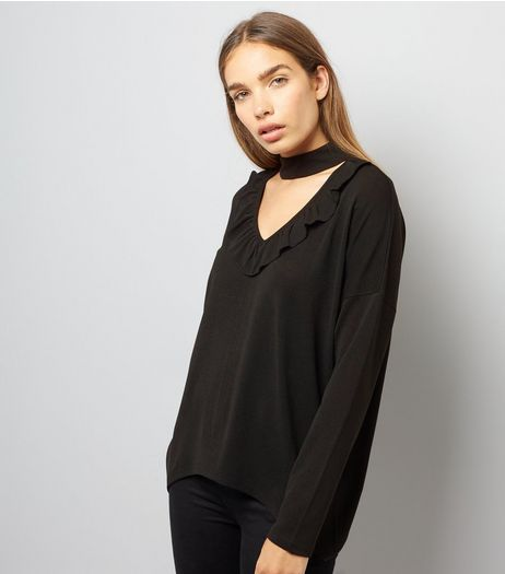 Blue Vanilla Black Frill Choker Neck Top  | New Look