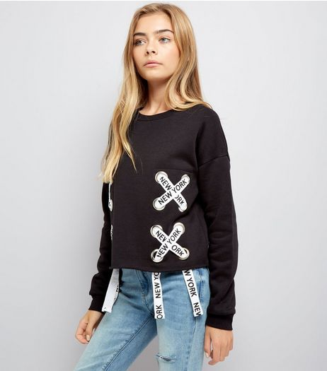 Teens Black New York Print Lace Up Sweater | New Look