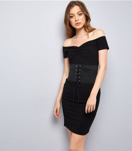 Pink Vanilla Black Corset Belt Bardot Dress | New Look
