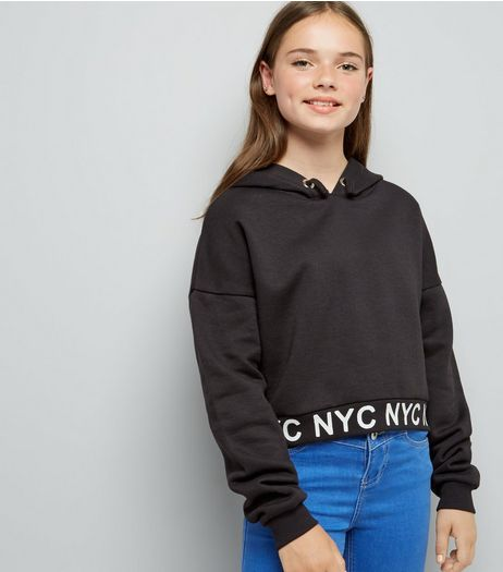 Teens Black NYC Hem Printed Hoodie  | New Look