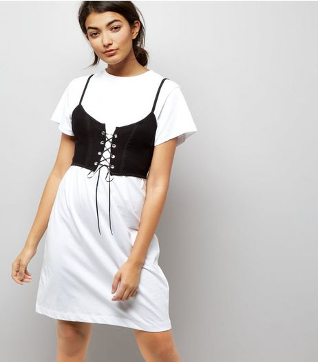 White 2 in 1 Bralet Tunic | New Look