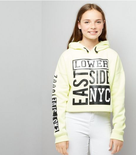 Teens Yellow NYC Print Hoodie | New Look