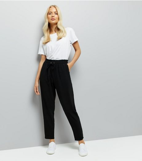 Black Elasticated Waist Woven Joggers  | New Look