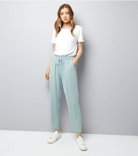 Mint Green Tie Waist Joggers  | New Look