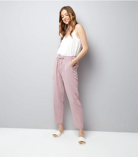 Lilac Tie Waist Woven Joggers | New Look