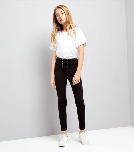 Teens Black Corset High Waist Leggings | New Look
